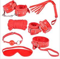 Wholesale Adult Fetish Bondage Set Kit Rope Ball Gag Cuffs Whip Collar Blindfold Sex y Toy