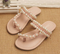 Wholesale 2014 Sumemr Children Girls Cute Beading Pearl Solid Slipper Princess Sand Beach Shoes Fashion Sandals Casual Cute Shoes I1464