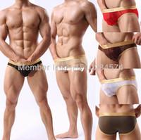 Men Boxers & Boy Shorts Christmas Wholesale-See Through Mini Sexy Men's underwear briefs Penis Bulge Pouch Men's briefs shorts Hipster men sexy briefs for men underpants