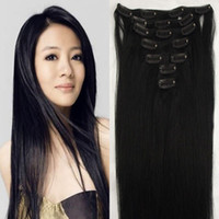 Wholesale g pc pc set real human hair INDIAN hair clips in extensions and i tip hair real straight full head high quality