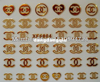 Wholesale XF6 Silver amp Gold Nail Art Sticker Brand Logo Decal sticker for nail accessories nail design Free ship