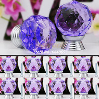 Ceramic  New TK0737# 2014 New Arrival 8 Pcs Glass Crystal Cabinet Drawer Knob Kitchen Pull Door Handle Wardrobe Hardware 30mm Purple #6 TK0737