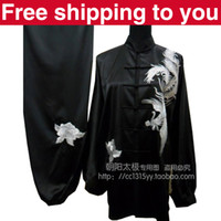 Wholesale Chinese Tai chi clothing tai ji sword set exercise performance suit phoenix embroidery women children little boy girl black