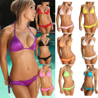 Cheap 11 colours candy color summer beach swimwear hot sale swimsuit lady fashion sexy bikini set
