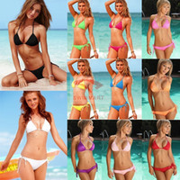 Bikinis Set Lycra Ribbon 2014 New summer beach swimwear candy color swimsuit lady fashion sexy bikinis set