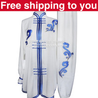 Wholesale Chinese Tai chi clothing taiji sword set wushu performance kungfu suit blue clouds embroidery man woman children boy girl