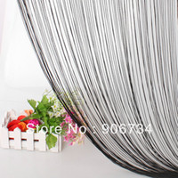 Polyester / Cotton wall dividers - Black Tassel Fringe Hanging String Partition Divider x197cm Wall Door Curtain