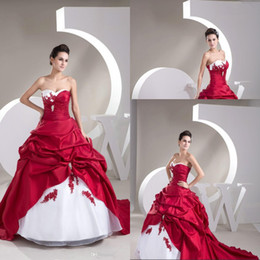 Hot Selling New fashion Trends in Fashion world Color Sweetheart Applique 2014 Red and White Wedding Dresses Fast Delivery