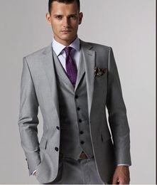 Wholesale Custom Made Slim Fit Two Buttons Light Grey Groom Tuxedos Notch Lapel Best Man Groomsmen Men Wedding Suits Jacket Pants Tie Vest
