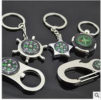 Wholesale 10pcs New Alloy Nautical helm compass keychain Fashion Key Chains Charms Keychains