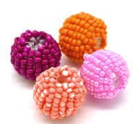 Bead Caps Dorabeads B20861 Free Shipping! 20Pcs Mixed Handmade Acrylic Round Woven Beads (Covered with Seed Beads) 18mm Dia.(B20861)