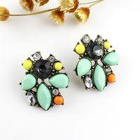 gemstone earrings - Super Jewelry Candy Color Vivid Fashion Hip Hop Individual Favorite Women Created Gemstone Stud Earrings
