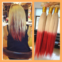 100g Brazilian Hair Ombre Color 2014 Free Shipping 100% Virgin Indian Human Hair Weft Weaves straight #613 Red 2 tone color ombre hair weft 3pcs lot 300g in stock Hot