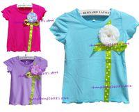 Girl baby t shirt designs - Retail New Arrive Girls Short Sleeve T Shirt Children Baby Flower Ribbon Design Summer Tops Kids Clothing