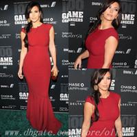Reference Images High Neck Chiffon Free Shipping High Neck Long Mermaid Kim Kardashian Dress Celebrity Dresses 2014 Evening Dress Red