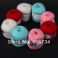 Yes JUNE Pink,White,Cyan,Red 4 Colors Popular Luxury Angola Mohair Cashmere Knitting Wool Yarn Skein on Sale