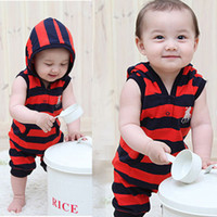 Cheap Boy Striped Rompers Best Summer Sleeveless Kids Summer Hoody Clothes