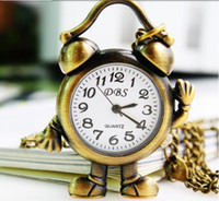 Casual glass table clock - Hot Sale small alarm clock fashion table gift watches bag pendant clasp Lovely Chocolate Cartoon Pocket Watch