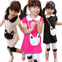 Girl baby cat collar - Girls dresses summer sets dress leggings Children fashion cotton dress with cute cat baby legging pants kids cotton dress