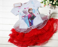Wholesale HOT Girls Cartoon Frozen Printed Outfits Elsa Anna Princess Snow Queen Short Sleeve T Shirt Red Layered Veil Tutu Skirts Sets I1497
