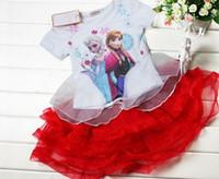 HOT Girls Cartoon Frozen Printed 2pcs Outfits Elsa Anna Prin...
