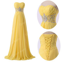 Strapless apple sales promotions - Big Sale Yellow Strapless Chiffon Evening Dress A line Sweep Train Bridesmaid Dress Promotion Crystal Fashion Bridesmaid Gown