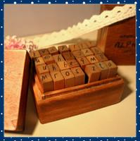 Wholesale FORREST SHOP Wooden Vintage Alphabet Stamp Set Mini Wood Box DIY Scrapbooking Rubber Stamps SD