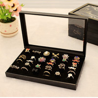 Jewelry Tray Ring Cardboard Jewelry Box Tray 36 Rings Holes Black Tray With Cover Jewelry Display Tray Quality Cardboard Jewelry Holder Jewelry Organizer Tray