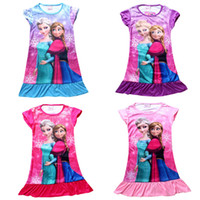 Wholesale Summer dress frozen girls short sleeve dress nightgown ice princess skirt Color year old children s clothing drop shipping GC057