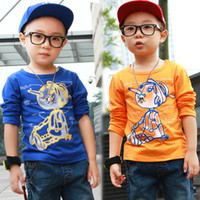 Unisex Spring / Autumn Standard New 2014 Kids Cool Casual Spring Autumn Retail Cartoon Long Nose Children's T-shirt Baby Boys Girls T shirts Clothing Tops 3-7 Years SF06-16