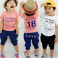 Unisex Spring / Autumn Children 2013 summer boys clothing girls clothing baby child short-sleeve T-shirt set tz-0396