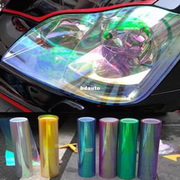 Changement de couleur des phares en Ligne-Vente en gros-12 & quot ; Pouces brillant caméléon Auto Car Styling phares feux arrière translucides film lumières autocollants film tourné changement couleur voiture