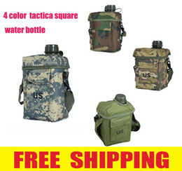 Wholesale-High Quality 2L Square tactical US MILITARY travel hiking cycling Outdoor Water Bottle Kettle Canteen Keep Warm Pouch