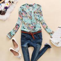 Cheap New 2014 v-neck chiffon women's flower printed Pleated shirt women clothing Floral blusas femininas dudalina b8 SV001942