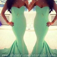 Reference Images Sweetheart spandex Custom Made 2014 Sexy Strapless Aqua Evening Dress New Arrival Party Dress Long Mermaid Prom Dresses
