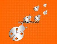 Wholesale 3D Beatles Mirror Clock Sticker DIY Fun Beetles Mirror Clock Creative Clock Decal Sticker Amazing Gift Kid s Bedroom Decor Sweethome123
