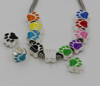Wholesale Hot Colors Silver Plated Enamel Double sided Paw Print Big Hole Loose Beads European Bead Fit Bracelets mm z203