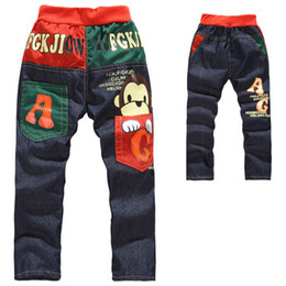 Wholesale 2014 New Retail Baby Kids Toddler Boys Legging Pants Trousers Boys Jeans Animal Monkey Children Pants Age Year JB YH10