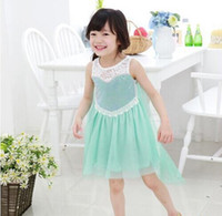 New arrive Girls' Frozen Dress kid's lace summer dress girl'...