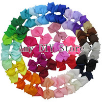 Wholesale 2014 fashion style girl falt grosgrain Ribbon Bows children hair accessories baby hairbows WHITOUT Clip colors in stock HJ010
