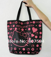 hello kitty tote bags - 2013Hotsale New Arrival Hello Kitty Bag Shopping Bag Hand BagBlack Pnk Red colors canvas handbags shoulder tote bags