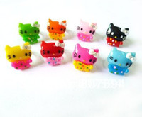 Wholesale 100Ps promotion colorful Acrylic crystal resizable lovely hello kitty Rings baby finger ring fashion jewellery JR36