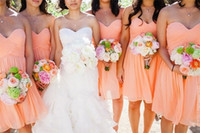 Wholesale Cheap Sweetheart Neck Bridesmaid Gown A line Sweetheart Short Chiffon Peach Color Bridesmaid Dress