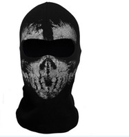Wholesale Call of Duty GHOSTS COD hat Cosplay balaclava specter full face mask skateboard cycling riding hood caps hats masks wargame helmet black