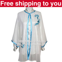 Wholesale Chinese Tai chi clothing Kungfu performance taiji sword suit shawl blue plum blossom embroidery woman man boy girl children