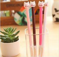 Wholesale 50 Cute Cat Gel pen Kawaii Stationery hookah pen Caneta Novelty favor gift zakka Office supplies material school
