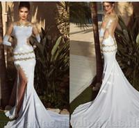 Wholesale Custom Made High Neck Long Sleeves Gold Beaded Bodice With High Slit Short Train Bridal Grown Wedding Dresses