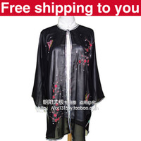 Wholesale Chinese Tai chi clothing Kungfu performance taiji sword suit shawl plum blossom embroidery woman man boy girl children black