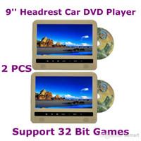 DVD/VCD Player TV Headrest Wholesale - 2PCS 9'' Automobile Headrest Car DVD Player Super Slim with MP5 IR 32 Bit Game FM USB Multi Function Free Shipping