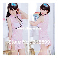 Cheap Wholesale-Free Shipping Pink Color Sexy Chinese Costume Open Front Skirt and Thong Panty Sexy Cheongsam Uniform Wholesale Drop Ship A8404